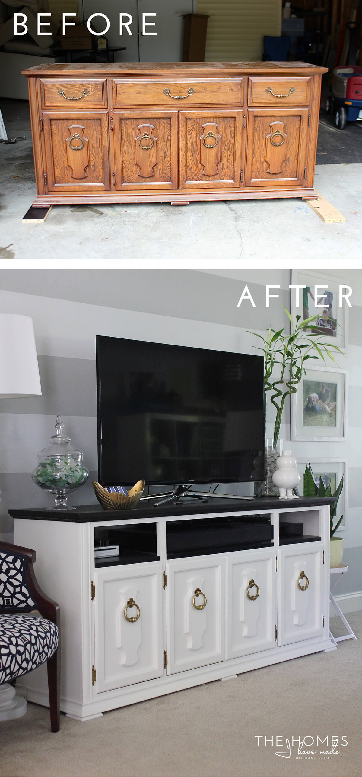 Elegantly Transformed Entertainment Center