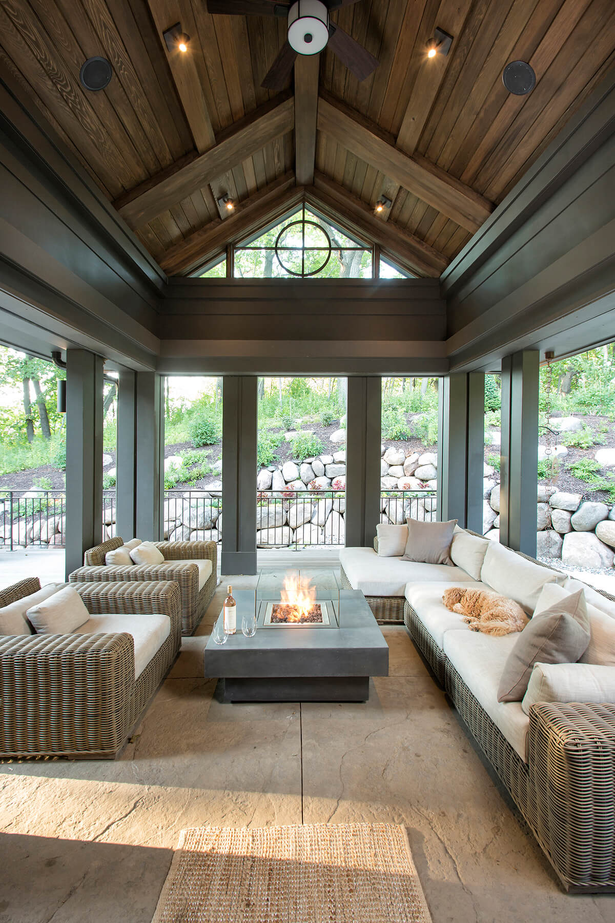 25. Open Lounge With A Fire Pit Table