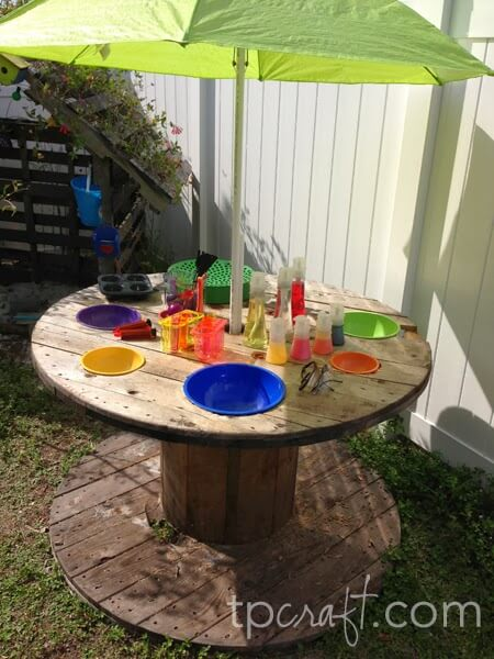Recycled Cable Spool Umbrella Stand and Table