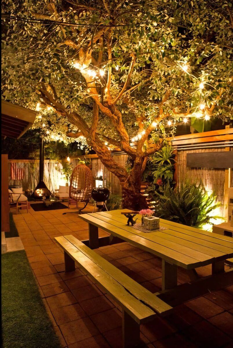 Highlight your Garden's Assets with Strung Lighting and Sconces