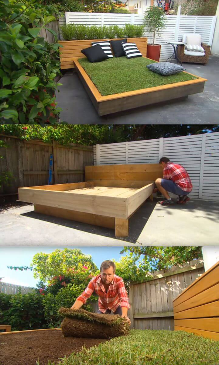 29 best diy outdoor furniture projects ideas and designs for Diy patio bed
