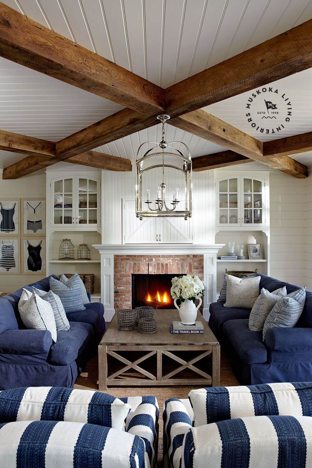 A Wooden Beachside Room with Blue Accents