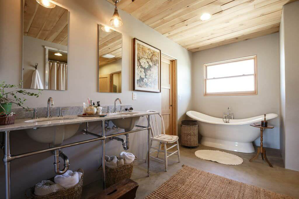 Edgy farmhouse bathroom