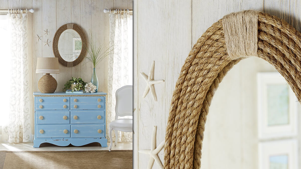 A Seaside-Themed Bedroom with Rope Accessories