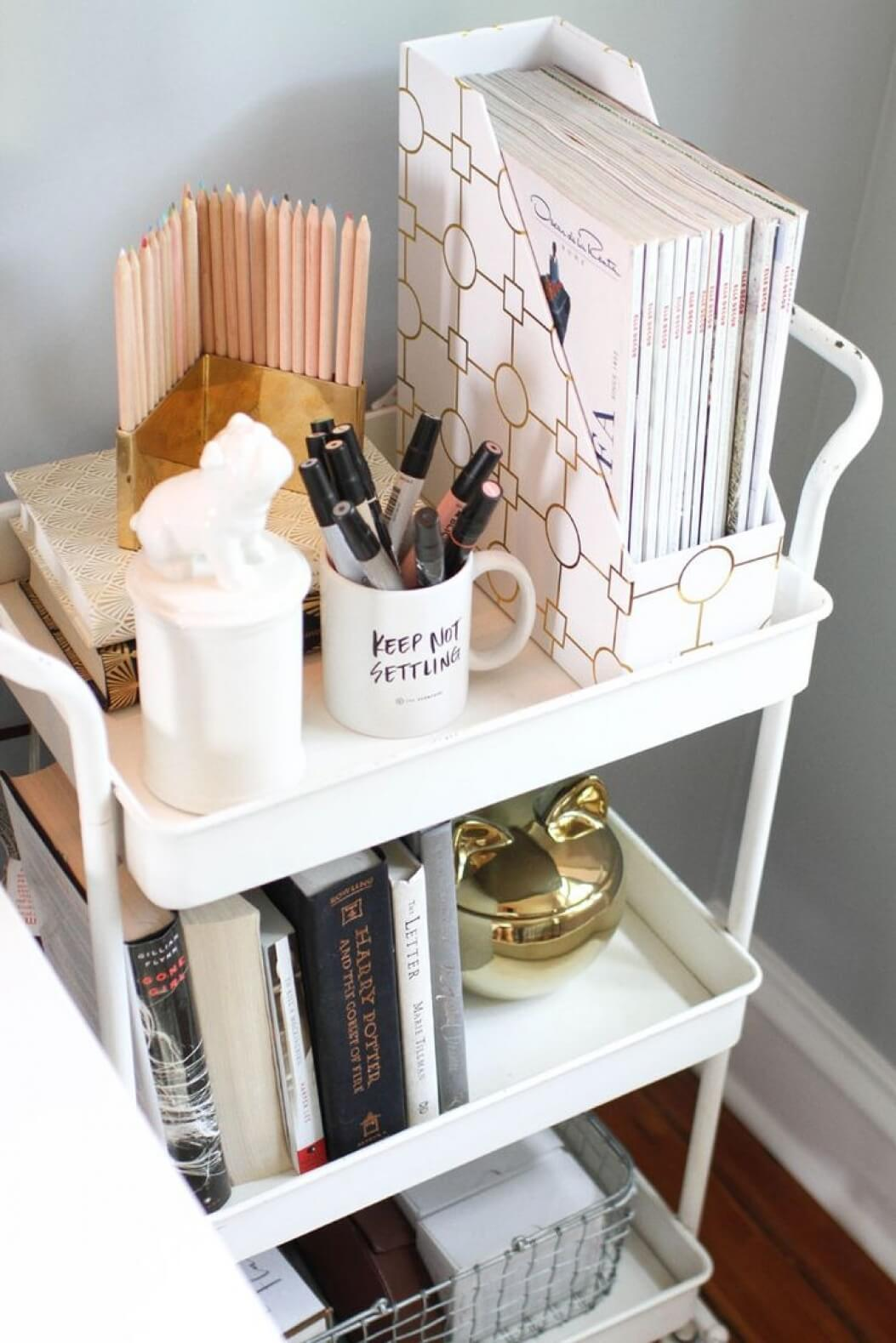 A Movable Nightstand with Three Tiers