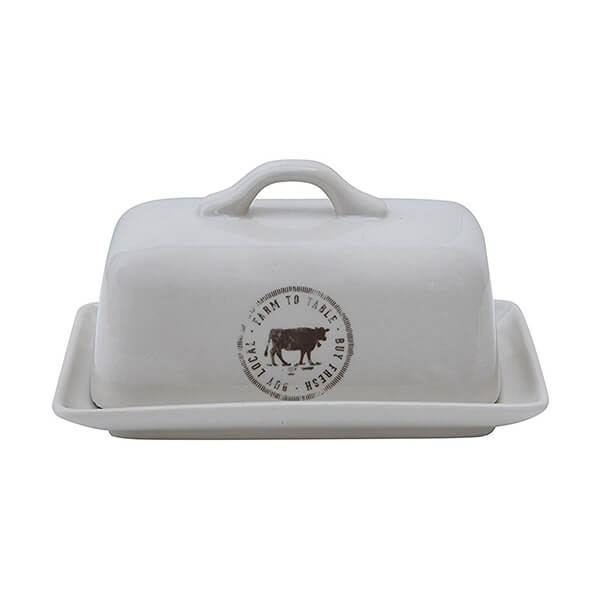 Creative Butter Dish with Cow Decal