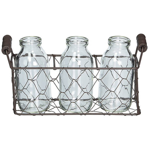 Metal Basket with Three Glass Bottles