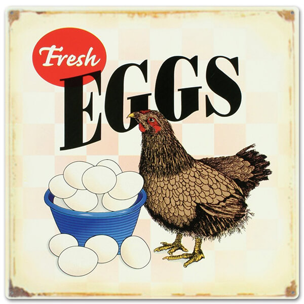 Fresh Eggs Distressed Tin Sign