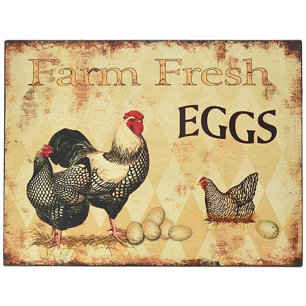 Farm Fresh Eggs Tin Bar Sign