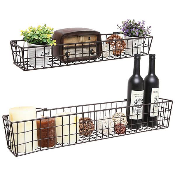Rustic Wall Storage Basket Shelves