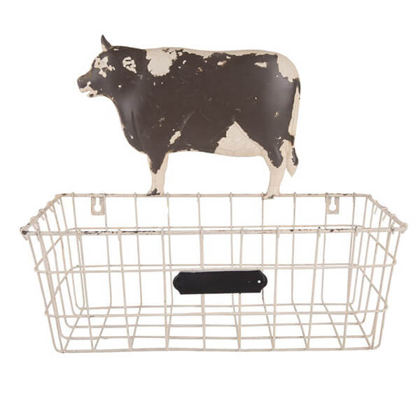 Storage Basket with Chalkbord Cow