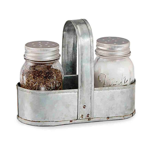 Silver Salt and Pepper Caddy Set