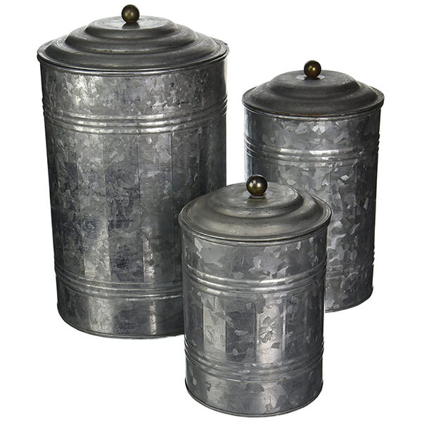 Metal Galvanized Canister Set