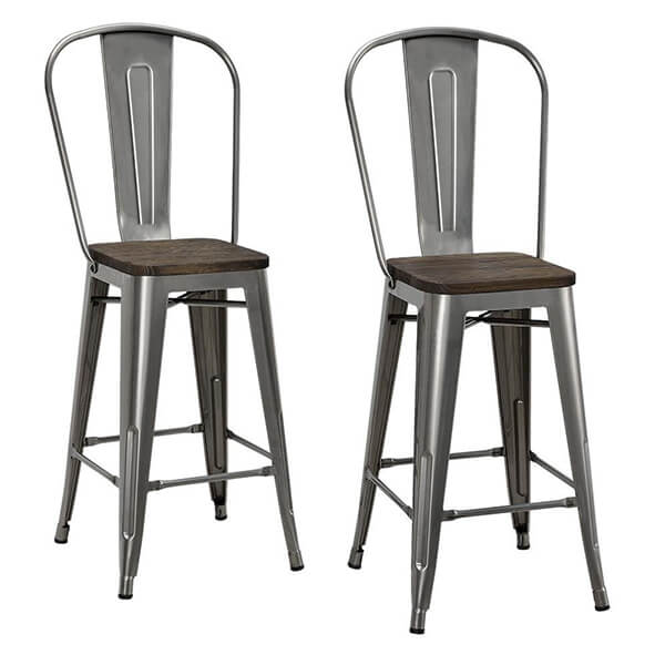 Counter Stool with Wood Seat