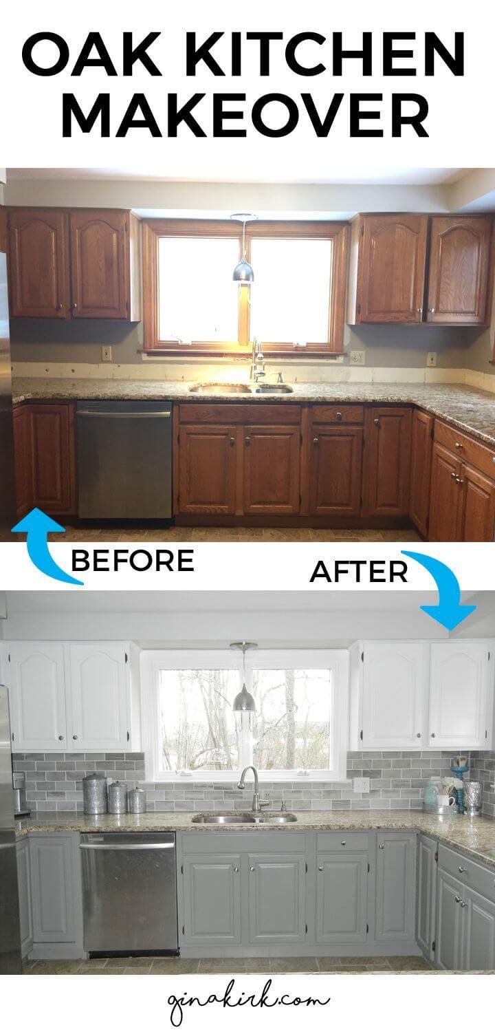 25 before and after budget friendly kitchen makeover for Before after kitchen makeovers