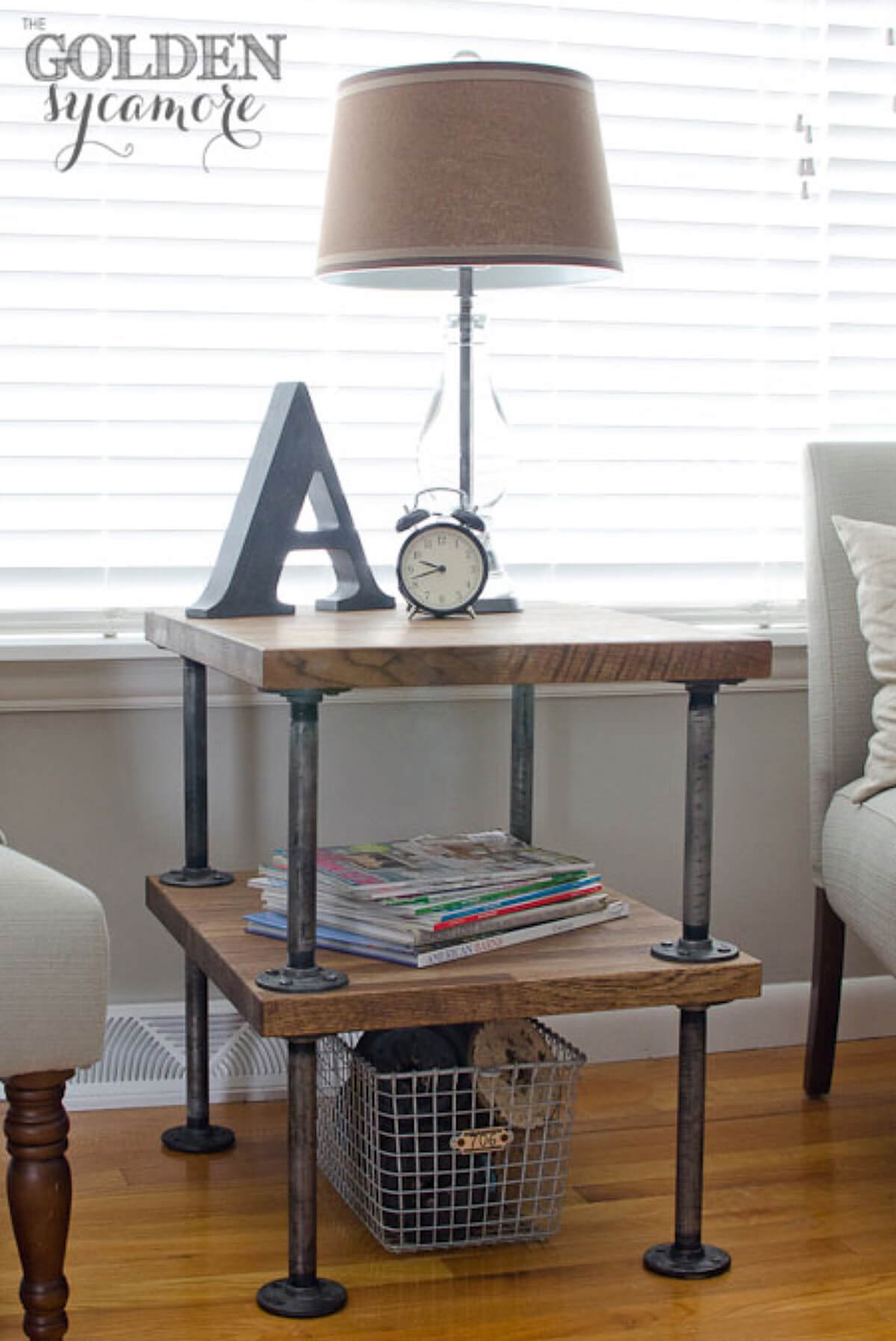 Repurposed Industrial Style Side Table
