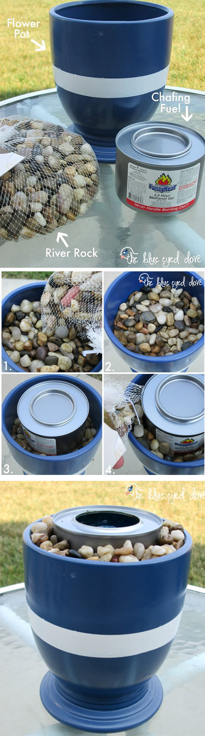 Blue Planter Fire Bowl with River Rocks