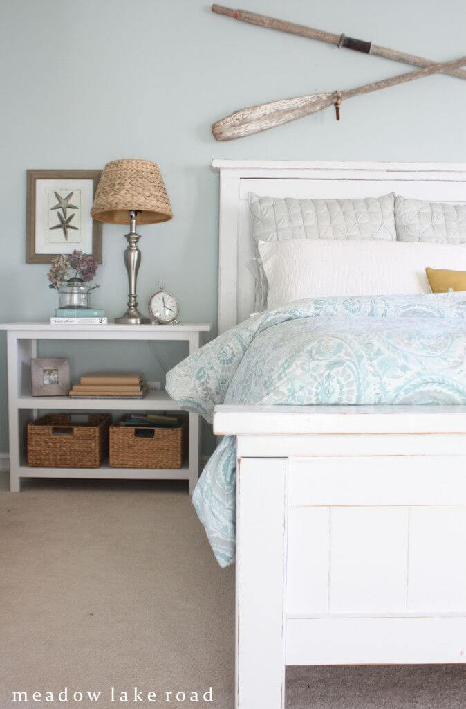 Touches of bedroom blue are calming
