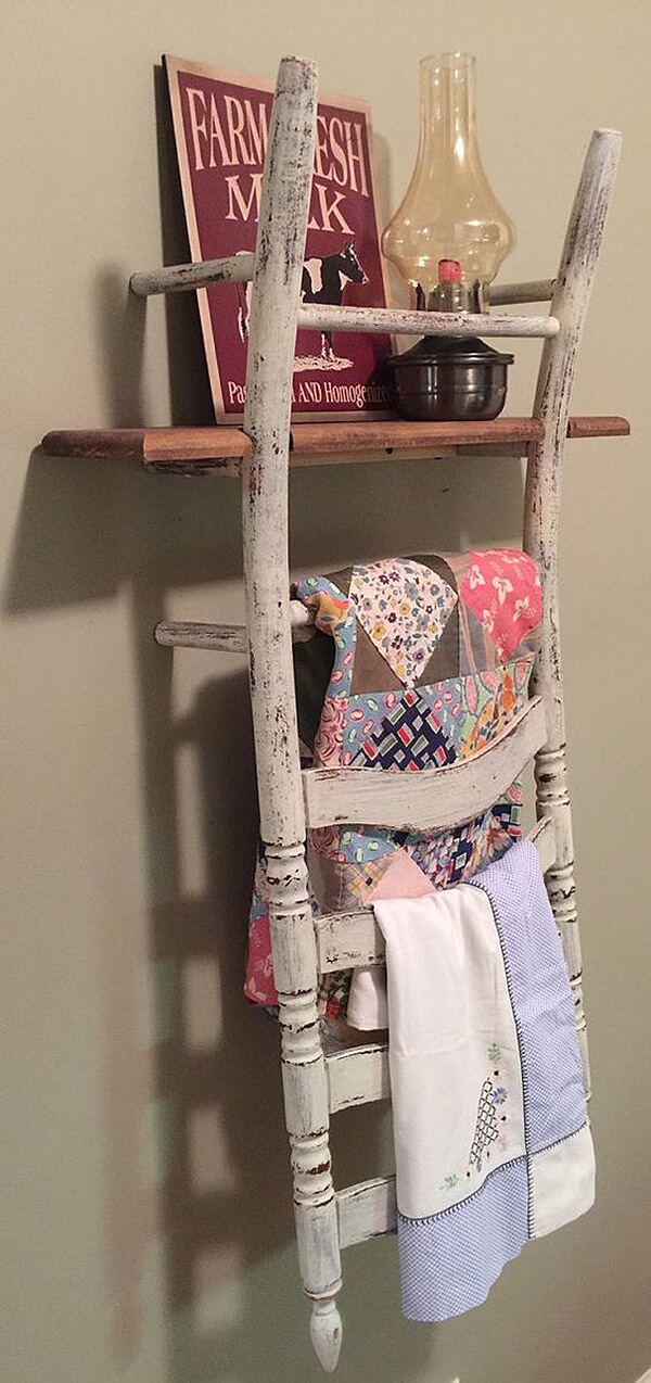 A Towel Rack Constructed from Chair Backs
