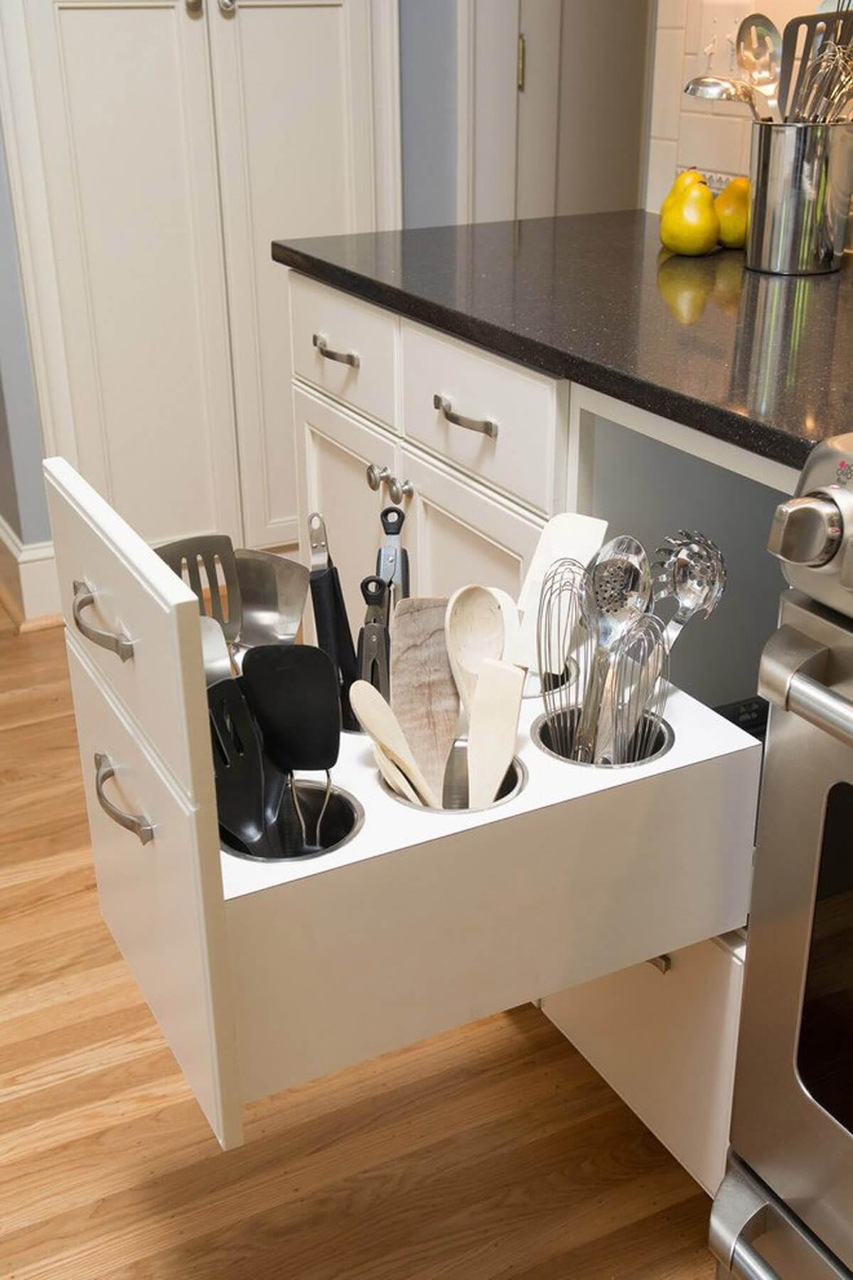 De-clutter Your Counter Space with Hidden Utensil Caddies