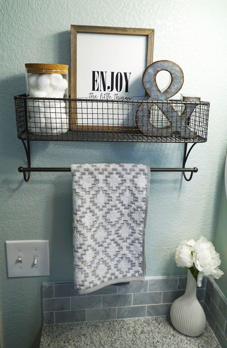 antiquate egg basket overhanging shelf - Bathroom Shelf Ideas