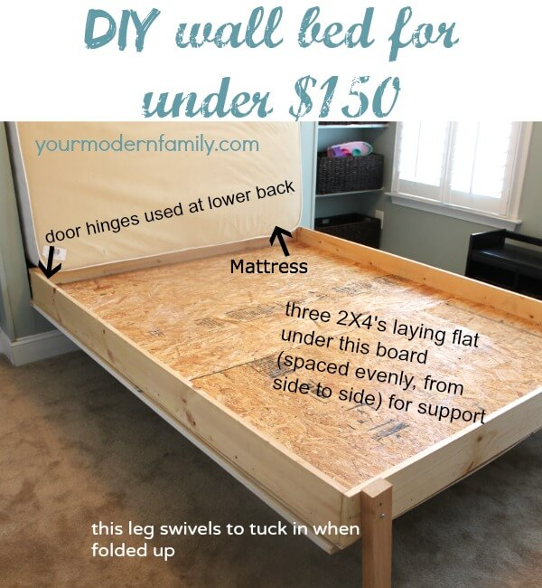 Bed Ideas Part - 16: DIY Murphy Bed Ideas For A Budget