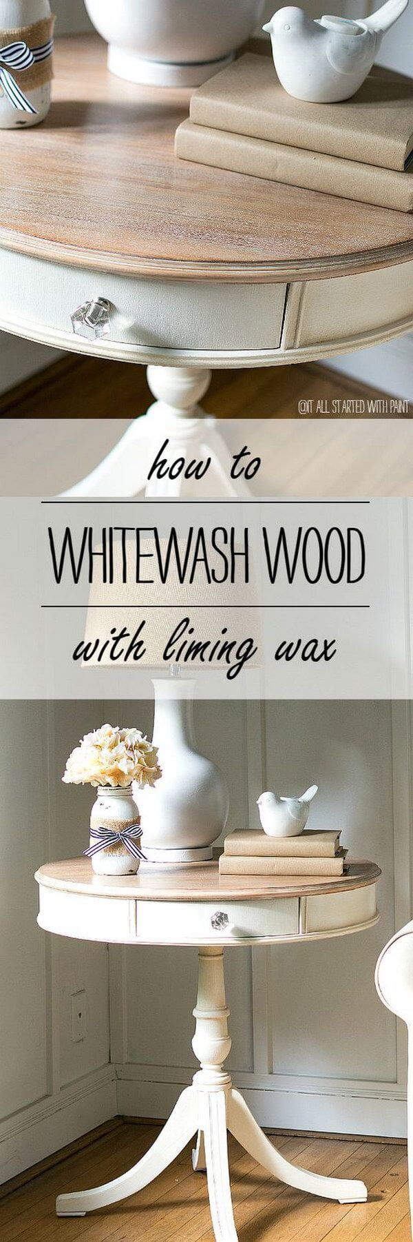 Whitewashing Methods For DIY Side Tables