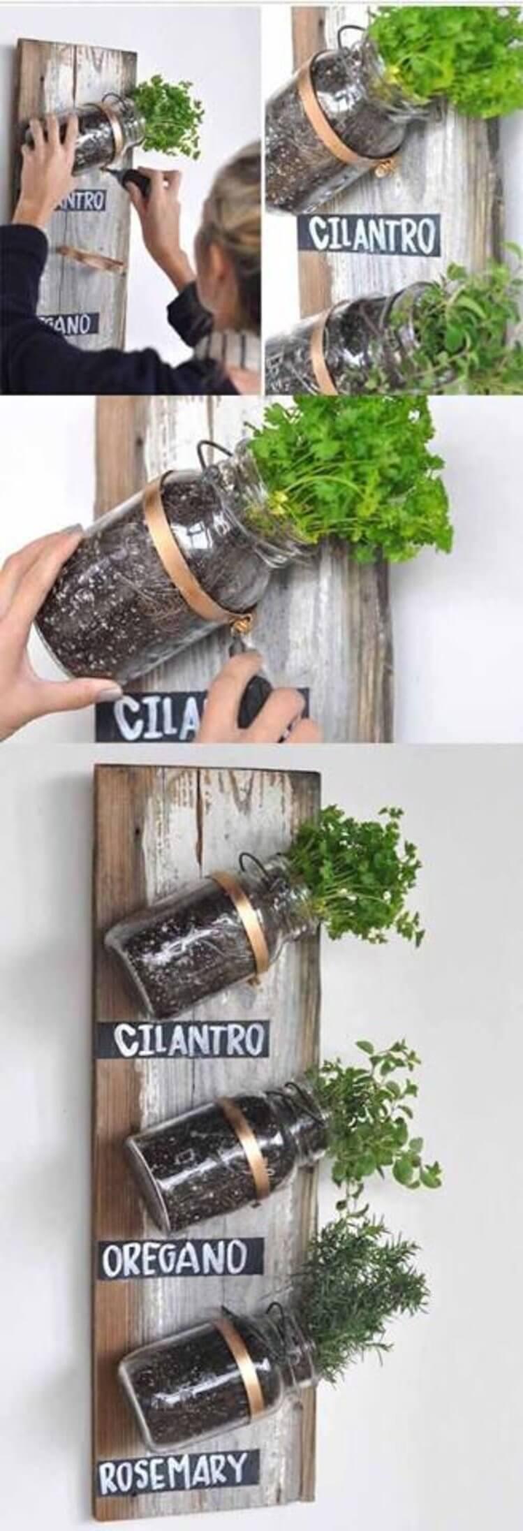 Mounted Mason Jars on Wood Panel Herb Garden