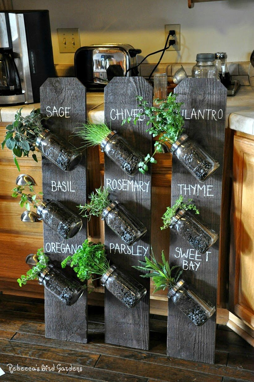 Up-cycled Fence Post Vertical Herb Garden
