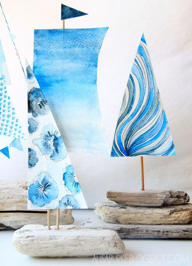 Fabric-and-Found-Object Art in Bold Blue Patterns