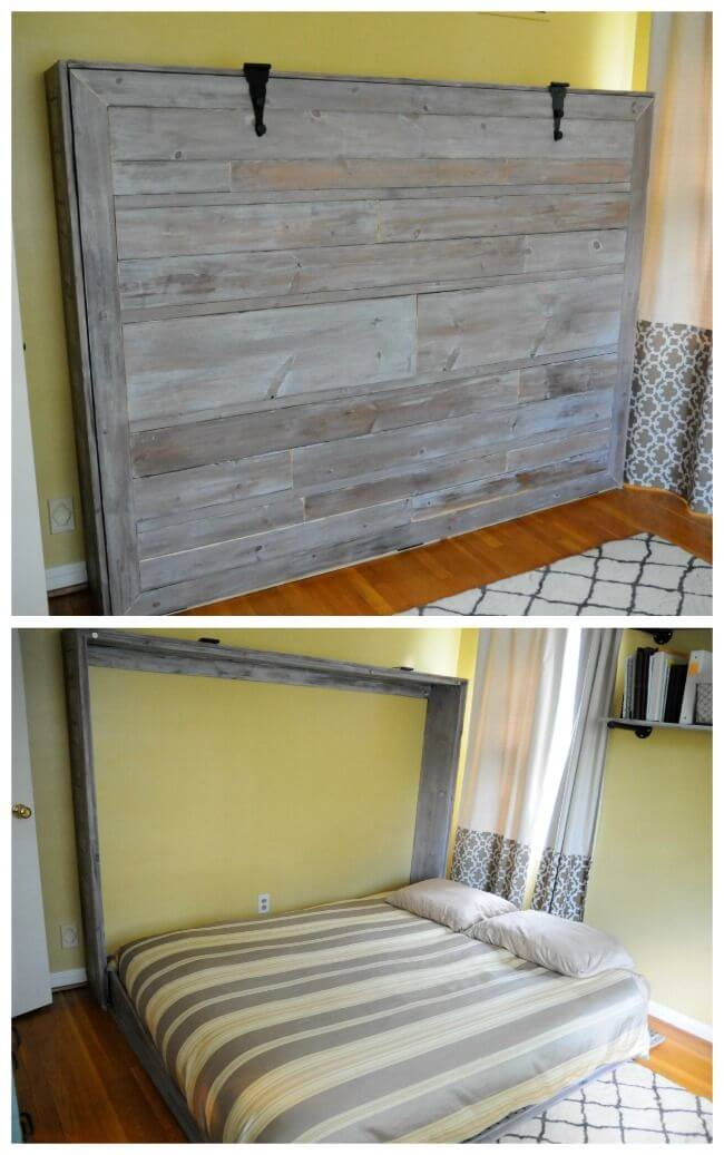 Wooden Hatch with a Queen-Sized Bed