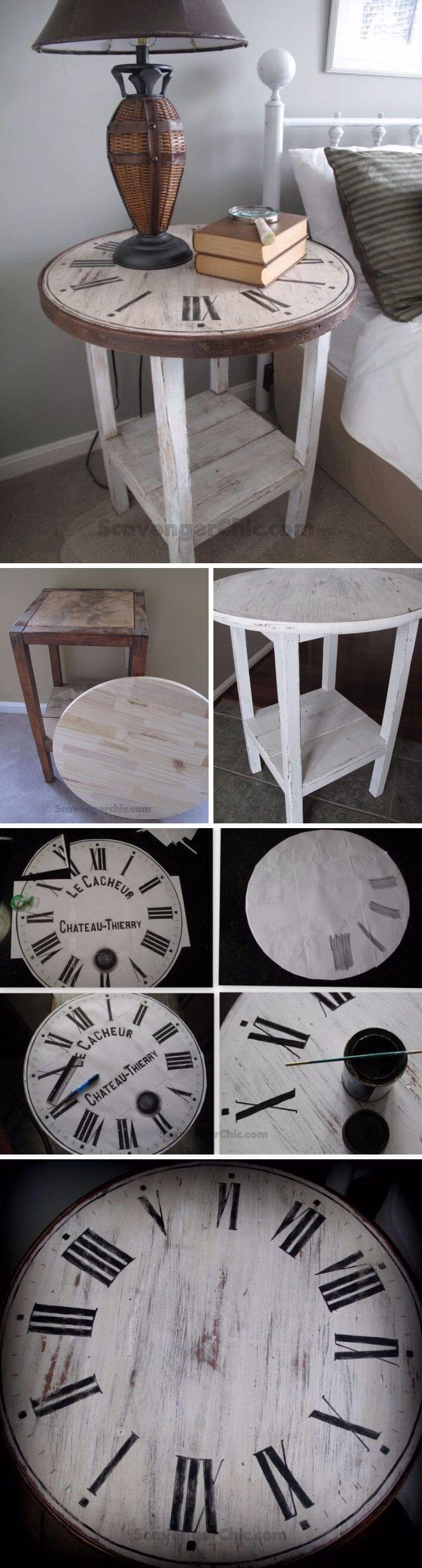 Around The Clock Wooden Side Table