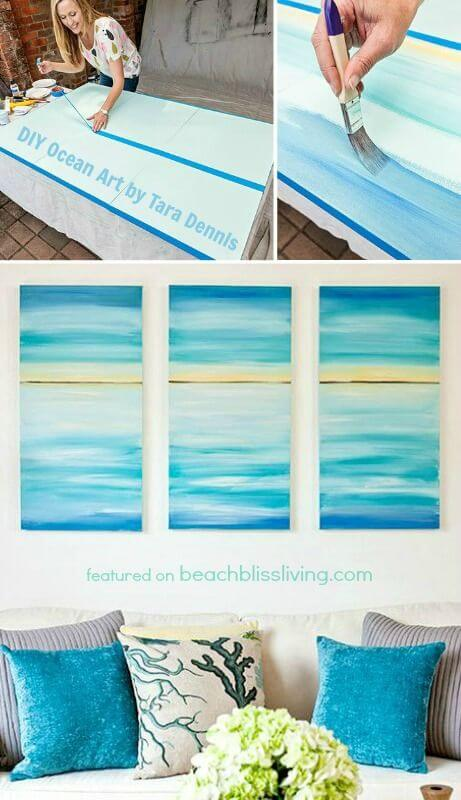 Make a DIY Triptych Featuring Sea-Inspired Blues