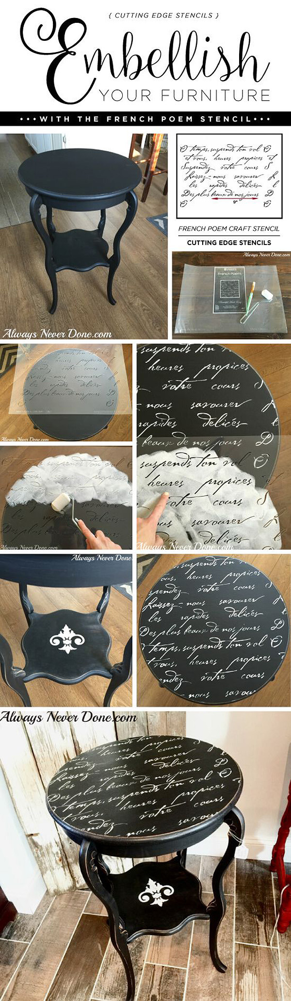 Love Letter Hand-Stenciled Table