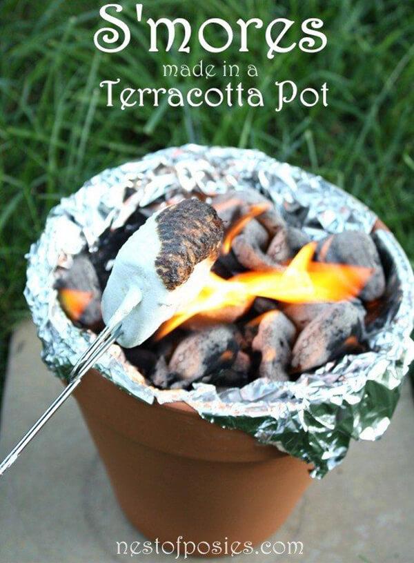 A Small Terracotta Pot Fire Bowl Design