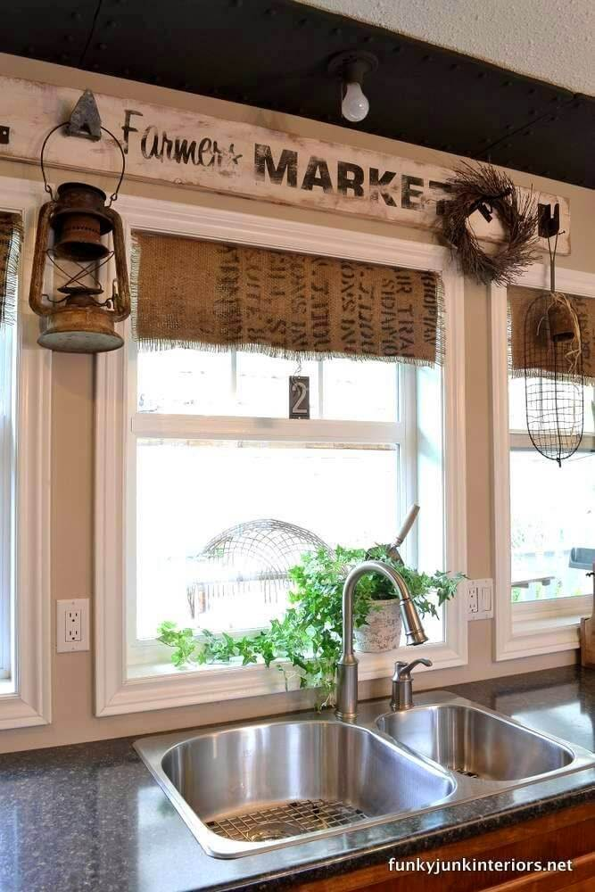 35 best diy window treatment ideas and desings for 2017 for Farmhouse kitchen window treatments