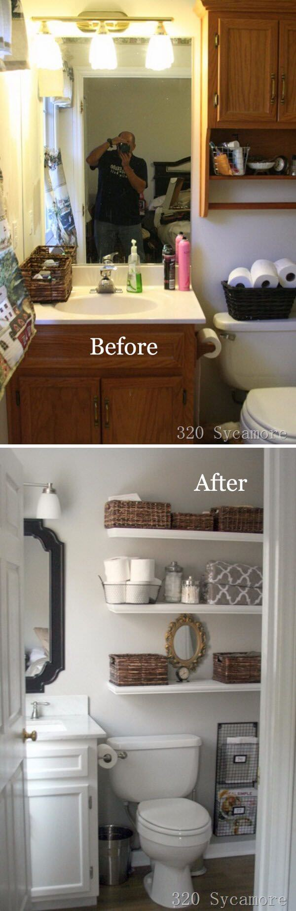 Good Ideas For Bathroom Shelves Part - 11: Simply Sleek DIY Bathroom Shelf Ideas
