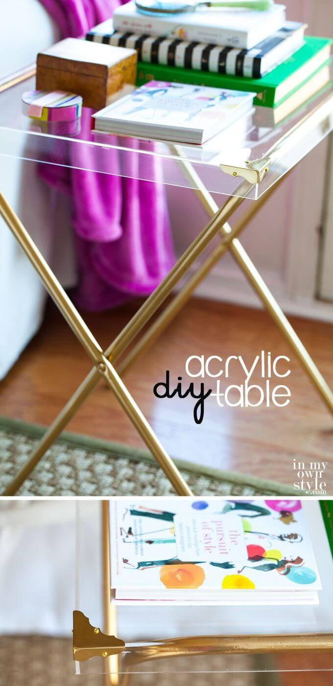 Folding Acrylic Studio Side Table