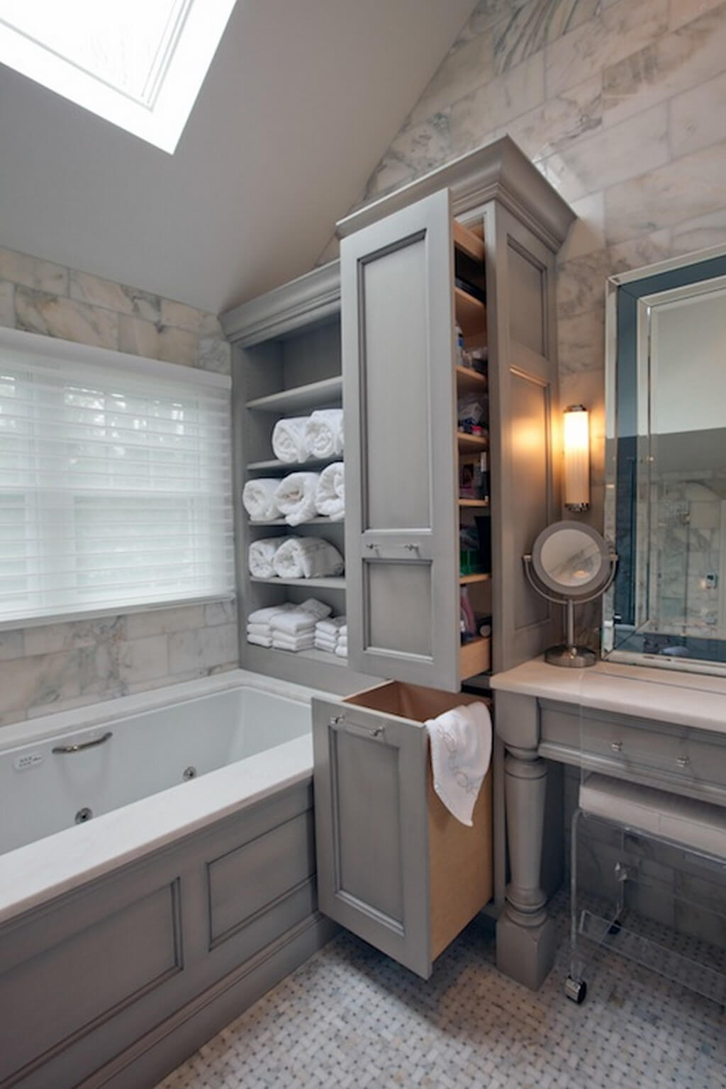 Beautiful Sliding Shelves And Hamper De Clutter Bathroom Space