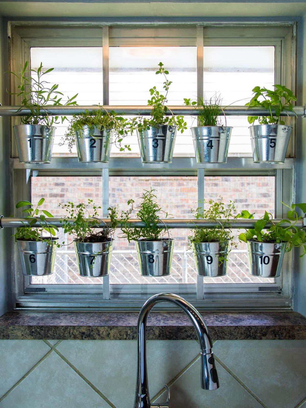 Curtain Rod Hanging Herb Garden