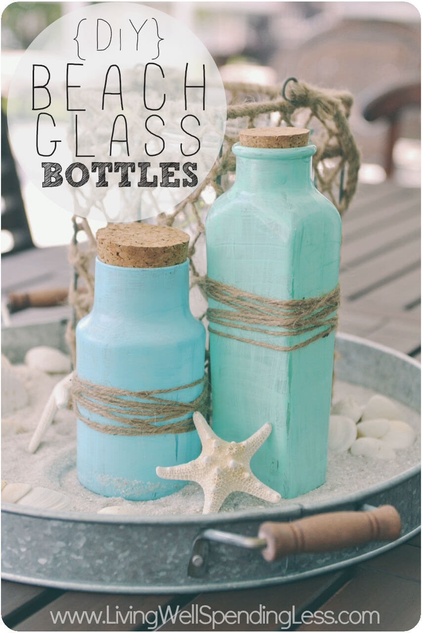 Glass Bottle Blues Are Perfect Beachy Touches