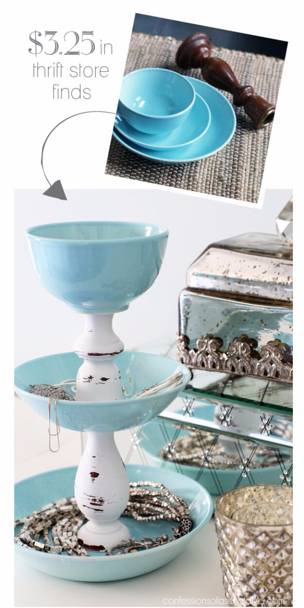 Jewelry Stand Using Bowls and Chair Legs