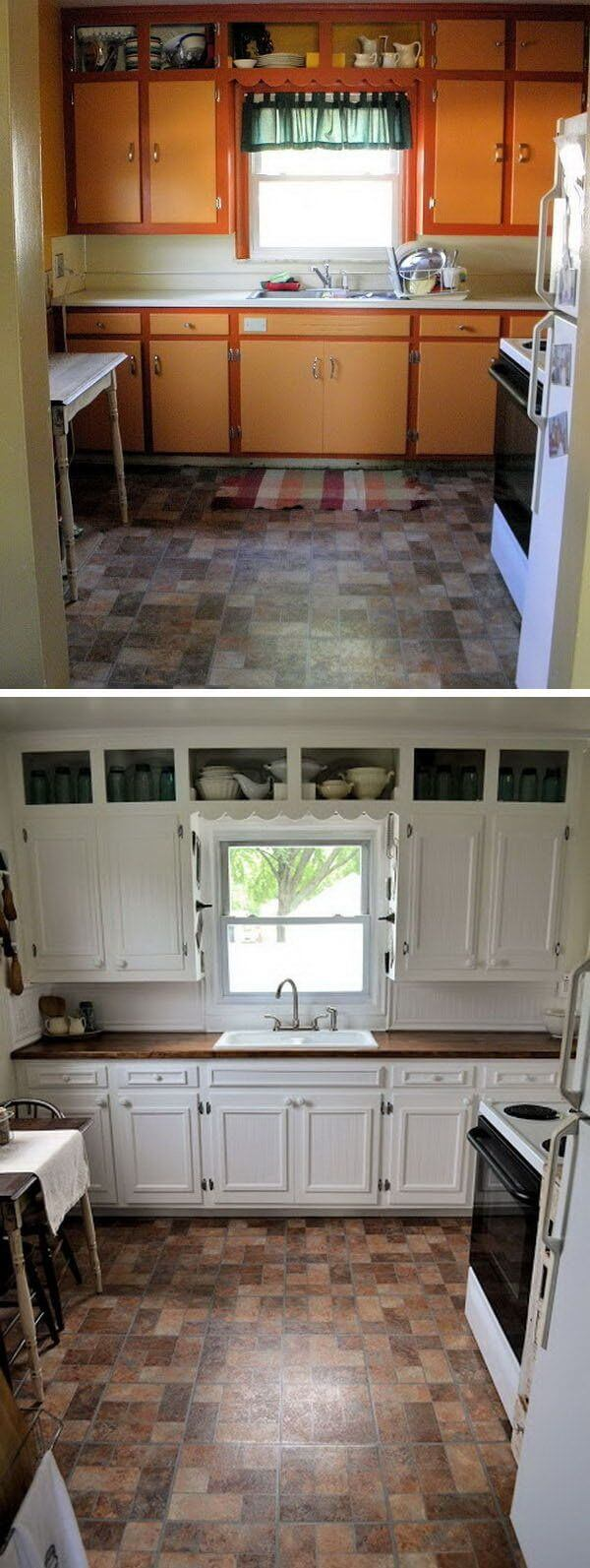 25 before and after budget friendly kitchen makeover for Budget kitchen cabinet ideas