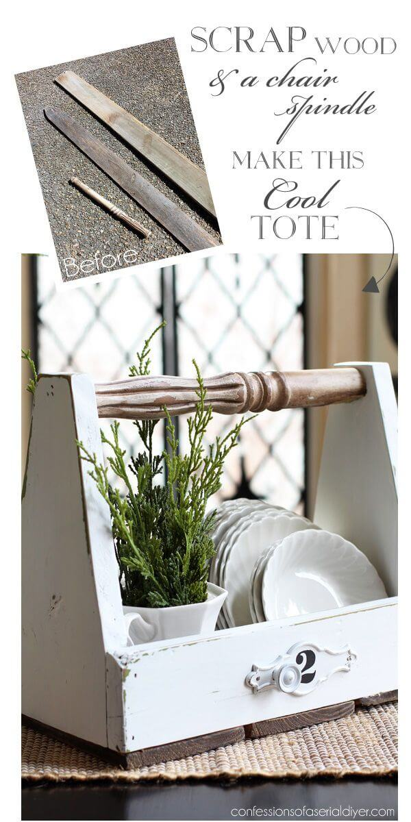 Wooden Tote with a Chair Spindle Handle