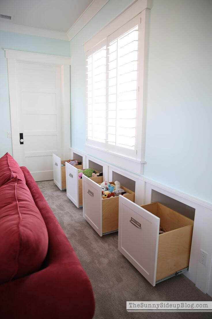 Built In Sitting Room Storage for Fast Kiddie Clean-up