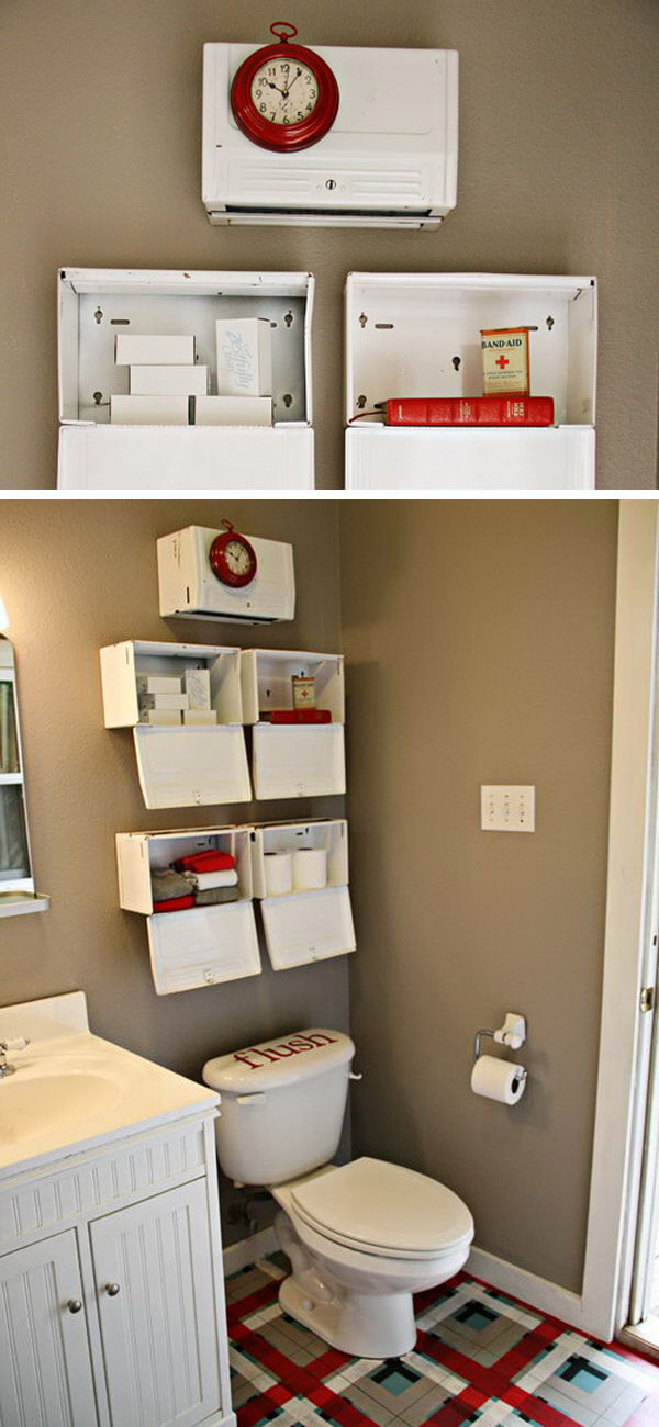 Repurposed Vintage Towel Dispenser Shelves