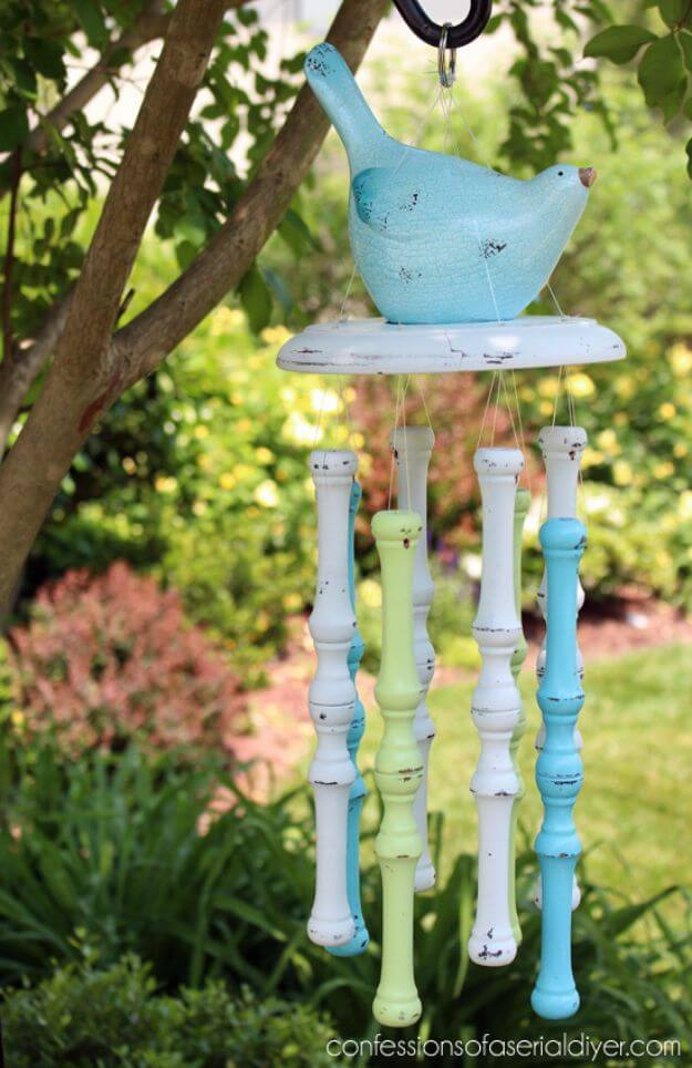 Colorful Wind Chimes Using Old Chair Spindles