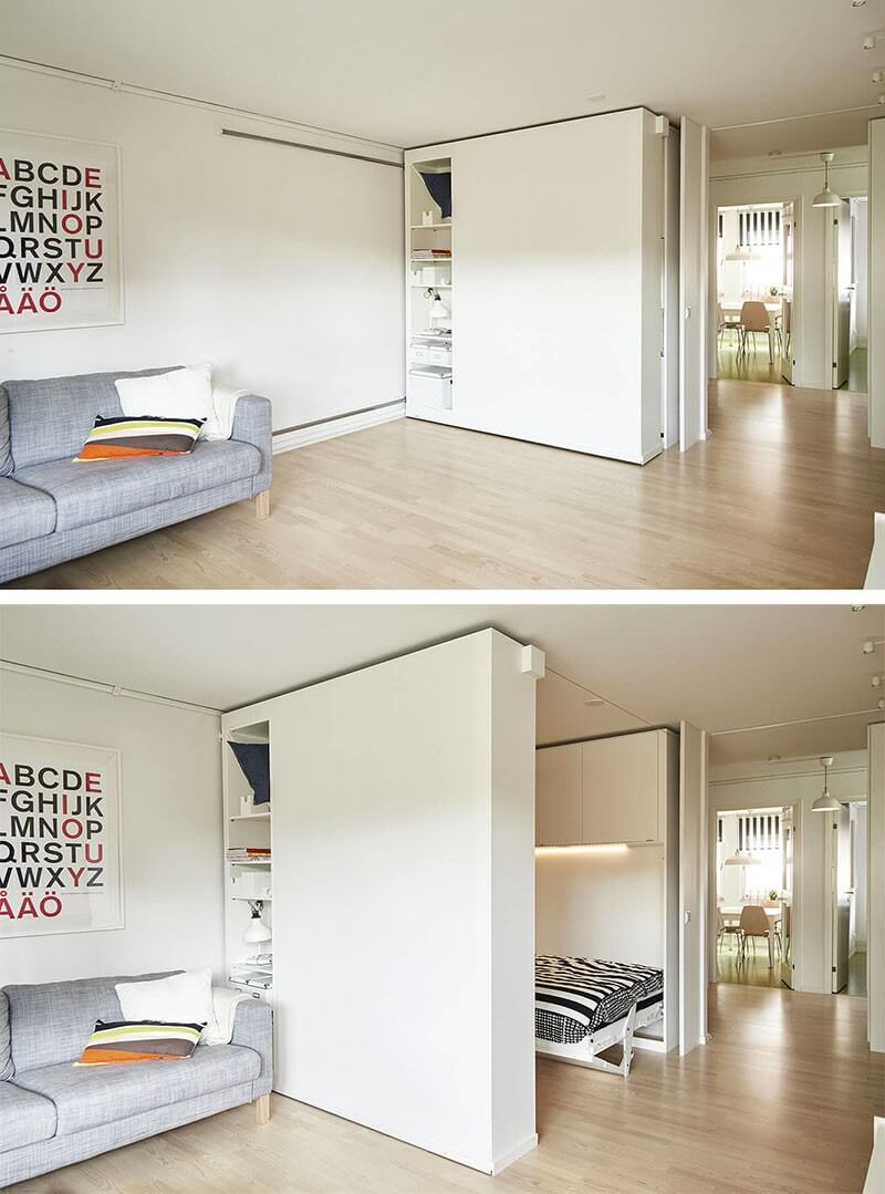 From Office to Bedroom with the Slide of a Storage Wall
