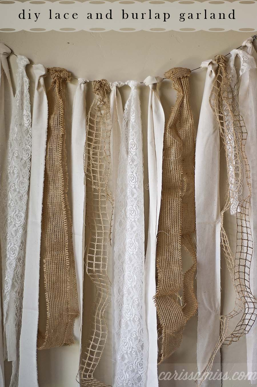 Rural Victorian Lace and Burlap Garland