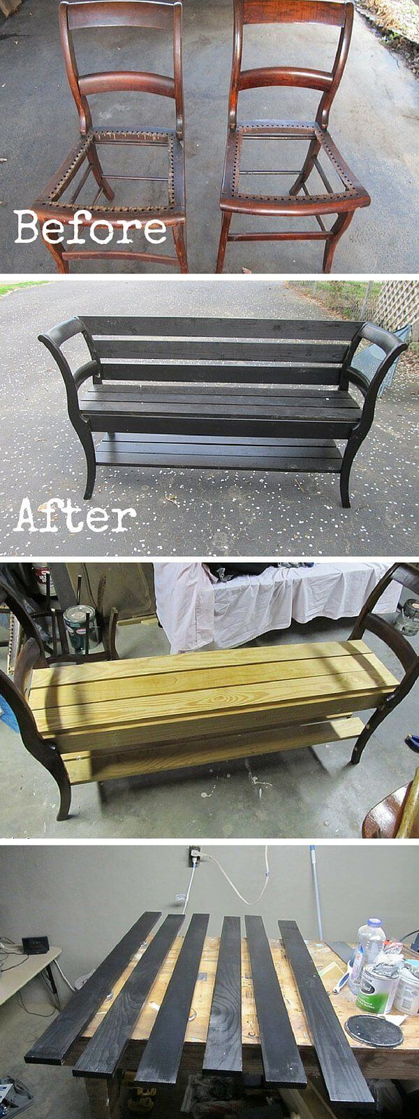 A Bench Created Using Repurposed Old Chairs